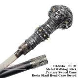 Cana-de-cabeça de cranio de resina Metal espada curta Stick 90cm HK8345