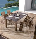 藤のホームホテルのオフィスの庭のBarcello屋外のスクエアのダイニングテーブルおよび椅子(J6351)