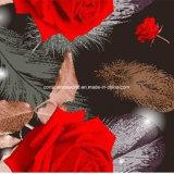 Zerstreung der Feder-100%Polyester Rosen-3D druckte Gewebe für Bettwäsche-Set