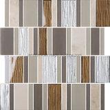 Streifen-Ziegelstein-graue Familien-Glaskristallmischungs-Aluminiummosaik-Fliese