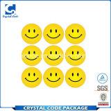 Alta calidad y escritura de la etiqueta sonriente barata de la etiqueta engomada