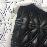2018 La mode en cuir artificiel de broderie + Tissu éponge