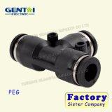 Conetor rápido plástico pneumático do encaixe de mangueira 3way do ar