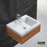 Dissipador de superfície contínuo de pedra artificial da bacia do banheiro de Kingkonree