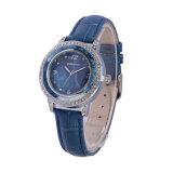 in de Charme van de Diamant van het Leer van het Kwarts van de Dames van de Voorraad Dame Watch Women Wristwatch