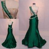 Индия один плечо зеленый Русалки дамы Fashion-вечерние платья