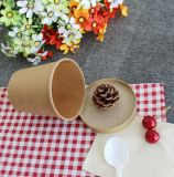 مستهلكة [كرفت ببر] حساء فنجان مع غطاء ورقيّة [بروون] أن يذهب حساء فناجين