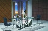 Современный итальянский дизайн Florentina ясно верхней стеклянной обеденный стол стулья из нержавеющей стали