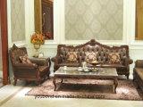 Dunkle Farbe0052 matt-Lack-festes Holz-Hand geschnitztes klassisches Leder oder Gewebe-Sofa