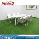 Diseño moderno y la correa de tejido de la cuerda al aire libre juego de comedor para Restaurante mesa y sillas