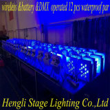 12 *15W RGBWA 5in1 LED 동위 빛을 점화하는 LED 편평한 DMX&Battery& 무선 방수 Kibetic
