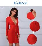 Langes Hülsen-Kleid-rotes Kleid-reizvolles Verband-Kleid
