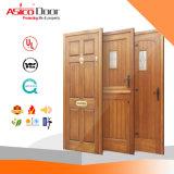 Porte en bois évaluée de solide de l'entrée 100% de porte d'incendie intérieur