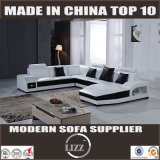 Modernes Schnittu-Form-Leder-Sofa (Lz2204)