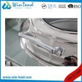 Edelstahl-elektrolytische Luxuxrollenoberseite-Glaskappen-runder Scheuerteller für Verkauf mit Kraftstoff-Halter