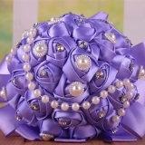 Цветастый букет перлы 28 Silk роз и держателя Rhinestone 15 Cm Bridal