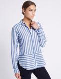 Camisa listrada da mistura do algodão das mulheres
