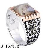 Anello d'argento dell'uomo dei 925 Nizza modelli con la pietra naturale
