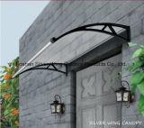 Toldo de la puerta de plástico de policarbonato soporte de fibra de vidrio cubierta con canaletas de agua (AA-L)