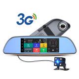 3G Car DVR Android 5.0 Bluetooth GPS Transmissor de FM Câmera de espelho retrovisor de dupla lente