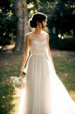Vintage чисто горловины тюль шифон A-Line для использования вне помещений свадебные платья