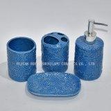 5 stuk, de Blauwe Ceramische Reeks van de Badkamers