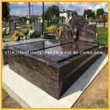 Headstone/pietre tombali dell'animale domestico dell'aurora/granito del bambino con il disegno intagliato della Rosa