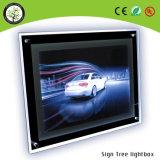 Caixa leve do diodo emissor de luz do frame do poster dos lados do acrílico do tamanho padrão