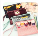 Double-Layer Grid Cartoon Padrão PVC Sealed Bag Pencil Case