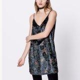 Платье выскальзования отдыха женщин способа свободной напечатанное V-Шеей Backless