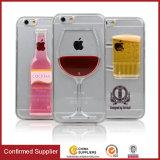 cas en verre de téléphone mobile de vin rouge du liquide 3D circulant pour le cas de l'iPhone 7