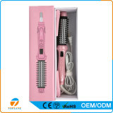 Cepillo 2 de las enderezadoras de la escritura de la etiqueta privada de la fábrica en 1 peine eléctrico del bigudí de pelo del hierro del bigudí