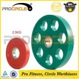 Siete placas revestidas del peso del hierro del caucho olímpico de los orificios (PC-BP1045-1055)