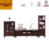 Stand de TV em madeira de mogno / armário de TV com gavetas (GSP13-009)