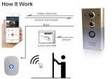 Home Security Smart Campainha da Porta de vídeo com fios de intercomunicador Bell Câmara com controlo remoto de desbloqueio