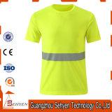 T-shirt élevé de force de sûreté de jaune de visibilité salut avec la bande