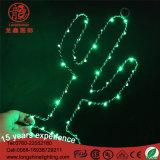 Luz de Natal do motivo da lâmpada de tabela do frame de aço da forma da estrela do cacto do diodo emissor de luz para a decoração