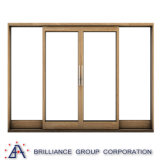Fenêtre coulissante en bois à double vitrage en aluminium avec filet en aluminium
