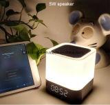 Altavoz sin hilos de Bluetooth de la lámpara del tacto LED con el reloj de alarma