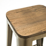 Simplemente taburete industrial del contador de la barra de Tolix del metal del estilo con el asiento de madera (SP-MC037W)