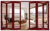 Portello di piegatura di alluminio principale di vetro Tempered del doppio del prodotto di Woodwin