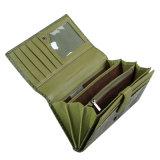Бумажник 2017 новой женщин бабочки зеленого цвета бумажника неподдельной кожи Costom типа выбитый кожей