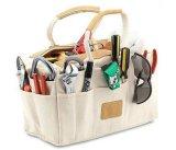 Kit de almacenamiento portátil Multi-Pocket Asa de algodón bolsa de herramientas con tapizado de cuero