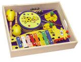 Insieme di legno dello strumento musicale del giocattolo della chitarra