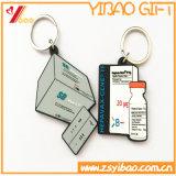 Kundenspezifisches weiches Belüftung-Silikon Keychain mit Bothside Firmenzeichen