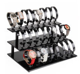 Présentoir acrylique clair ou noir fait sur commande de bijou de montre de bracelet, 24 montres de parties, rangée 3