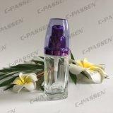 30ml cancelam o frasco de creme de vidro com a bomba roxa da loção de Alumite para os cosméticos (PPC-GB-013)