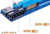 Adaptador de la tarjeta de la canalización vertical del suplemento de PCI-E 1X To16X con el conector dual de 4pin y de SATA