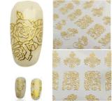 3D 금 로즈 꽃 디자인 못 예술 스티커 못 스티커
