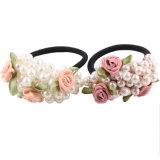 Cabelo frisado pequeno do elástico da faixa de borracha do Headband da pérola da flor fresca